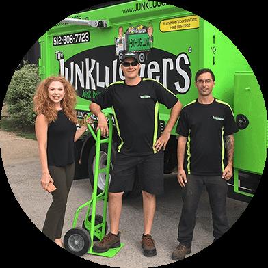 Junkluggers Austin Team outside their truck
