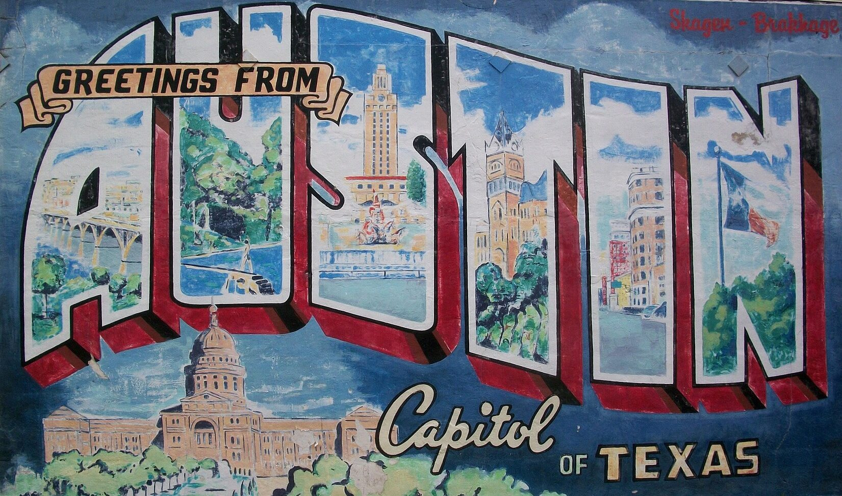 Greetings from Austin, Texas mural